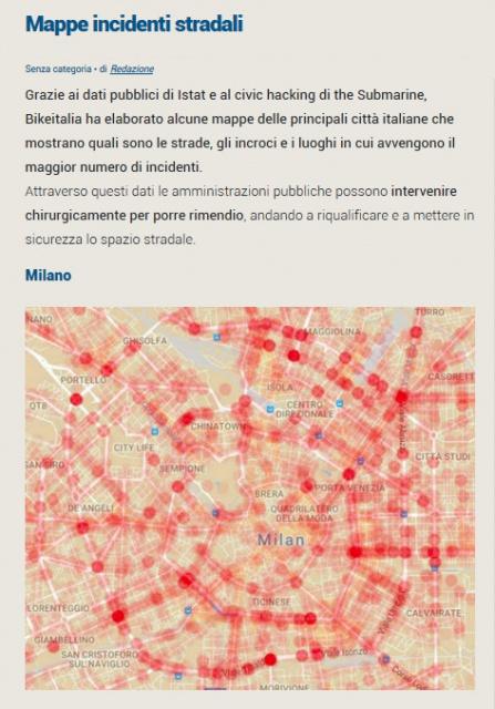 Sinistri in bicicletta: BikeItalia, Submarine Istat: la mappe del pericolo