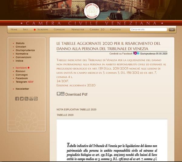 Venezia: aggiornate le tabelle per il risarcimento del danno alla persona