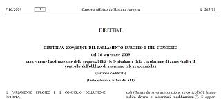 Direttiva 2009/103/CE su responsabilità civile risultante dalla circolazione di autoveicoli e il controllo dell'obbligo di assicurare tale responsabilità